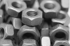 Nuts. Monochrome macro of industrial nuts Stock Photos