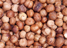 Nuts. A handful of dried hazelnuts Royalty Free Stock Image