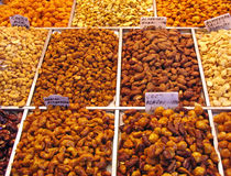 Nuts. Assorted nuts at the market stall Royalty Free Stock Images