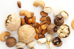 Nuts. Some kinds of nuts on white background Royalty Free Stock Images