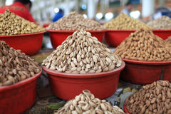 Nuts. The nuts are at a Khujand market, Tajikistan Royalty Free Stock Images