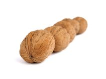 Nuts. On a white background royalty free stock photo