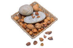 Nuts. Mixed nuts - Brazil nuts, almonds, walnuts, hazelnuts Royalty Free Stock Image