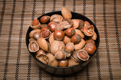 Nuts. Mixed nuts - Brazil nuts, almonds, walnuts, hazelnuts Stock Image