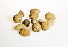 Nuts. Assorted nuts on isolated white background Royalty Free Stock Photography