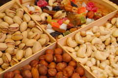 Nuts. And dried fruits collection Royalty Free Stock Photography