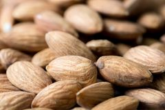 Nuts, almond, tasty and healthy food with lots of vitamins. Almond nuts Closeup view, selective focus. stock image