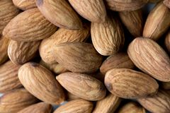 Nuts, almond, tasty and healthy food with lots of vitamins. Almond nuts. Macro view with selective focus. stock photos