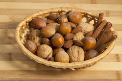 Nuts, almonds and cinnamon Royalty Free Stock Image