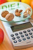 Nuts and almonds diet. Nuts almonds and pistachio on digital kitchen scale and word diet reflected Royalty Free Stock Photo