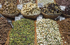 Nuts and almonds for sale at the Boqueria market in Barcelona Royalty Free Stock Image