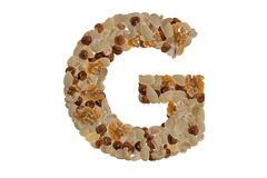 Nuts alphabet. Letters of the alphabet written with nuts Stock Photos