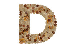 Nuts alphabet. Letters of the alphabet written with nuts Stock Photo