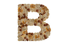 Nuts alphabet. Letters of the alphabet written with nuts Royalty Free Stock Photography
