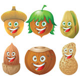 Nuts And Seeds Icon Character Set Stock Image