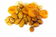 Nuts and apricots Royalty Free Stock Image