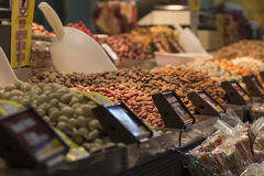 Nuts assortment. Any kind of nuts at Cyprus traditional market Stock Photos