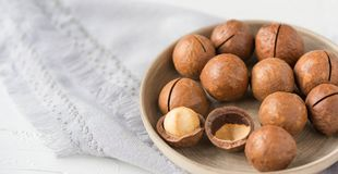Nuts in an assortment on a plate on a white background. Copy space. Healthy food royalty free stock photos