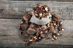 Nuts in a bag Royalty Free Stock Photos