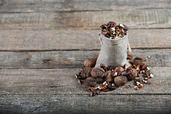 Nuts in a bag Royalty Free Stock Images