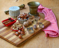 Nuts for baking on winter holidays Stock Photos