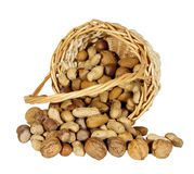 Nuts in a basket Stock Photo