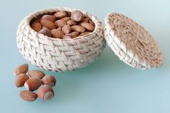 Nuts in the basket Royalty Free Stock Images
