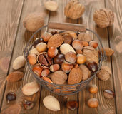 Nuts in a basket Royalty Free Stock Photo