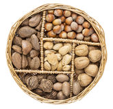 Nuts in a basket tray Stock Photo