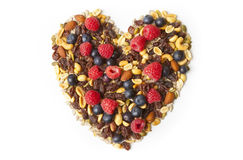 Nuts and Berries in Heart Shape Stock Images