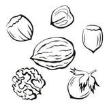 Nuts Black Pictograms Stock Photo