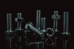 Construction fasteners from steel material. Construction fasteners royalty free stock images