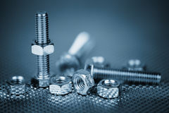 Nuts and bolts. On white Stock Images