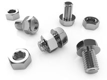 Nuts and bolts. 3d illustration of nuts and bolts isolated on a white background Stock Images