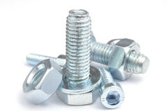 Nuts and bolts. Carefully arranged to look like a 'random' pile Stock Photo