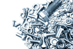 Nuts and bolts. Closeup. Copy space Stock Photography