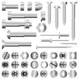 Nuts and bolts. Isolated nuts, bolts, screws and rivets Royalty Free Stock Image