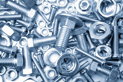Nuts and bolts. Assorted nuts and bolts closeup Royalty Free Stock Photography