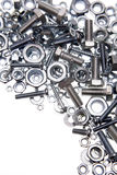Nuts & bolts. Nuts and bolts over white Stock Images