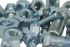 Nuts and bolts. Many different bolts and nuts Royalty Free Stock Images