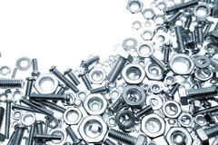 Nuts and bolts. On white Royalty Free Stock Photos