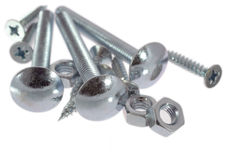 Nuts and bolts. Shiny nuts and bolts Royalty Free Stock Photos