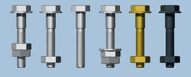 Nuts & Bolts. Shanked Bolts with Nuts Stock Images