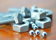Nuts, bolts and bearing balls. Royalty Free Stock Images