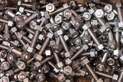 Nuts and bolts in case box Royalty Free Stock Image