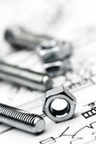 Nuts and bolts close up Royalty Free Stock Photo