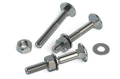 Nuts and bolts closeup. Isolated on white background Stock Images