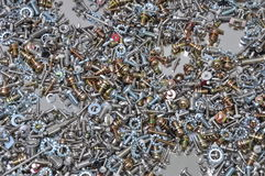 Nuts and bolts components Royalty Free Stock Photos