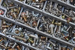 Nuts and bolts components for mounting Stock Image