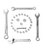 Nuts & bolts conposition fun skull Stock Photo